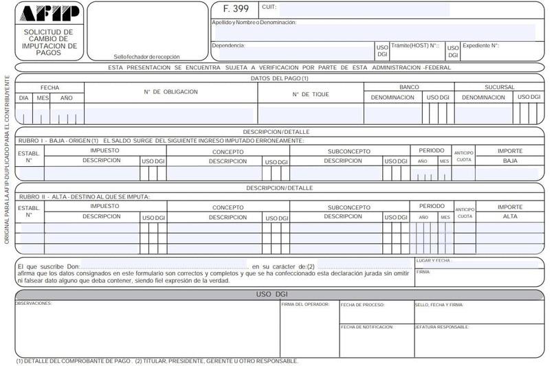 formulario 399 de afip para reimputación de pagos